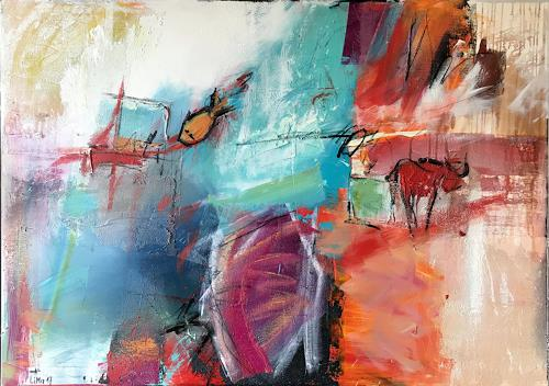 Maria und Wolfgang Liedermann, Fische und Stier, Abstract art, Abstract Art, Abstract Expressionism