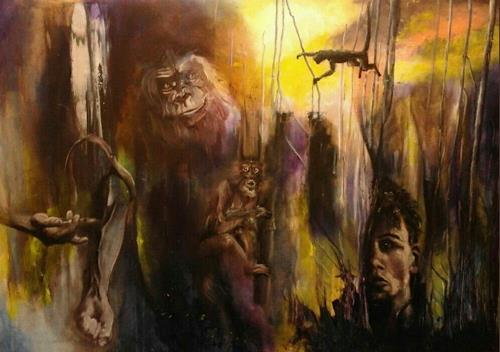 Edeldith, Im Jahr des Affen, Fantasy, People: Men, Expressive Realism, Abstract Expressionism