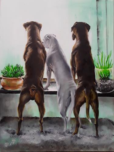 Edeldith, Draussen, Animals, Nature, Realism, Expressionism