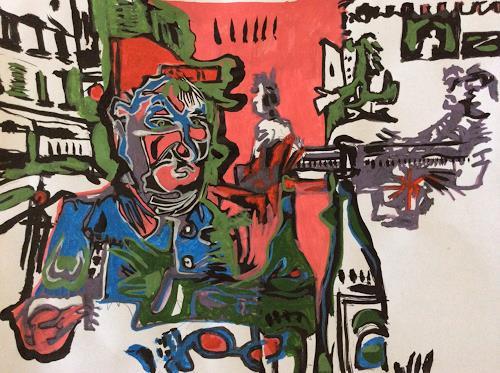 eugen lötscher, zeichnen mit hannes und klaus, 8. oktober 2014, People: Group, Leisure, Contemporary Art, Abstract Expressionism