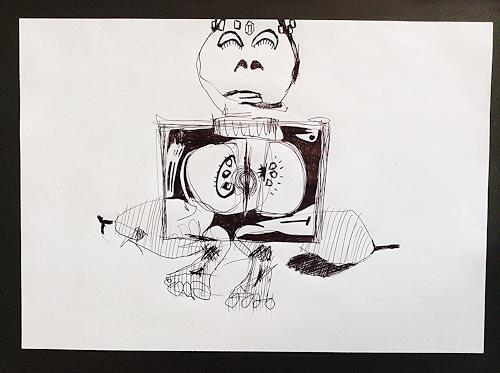 eugen lötscher, telefonzeichnung, die mitte, nur die mitte, immer wieder die mitte, 18. november 2014, Belief, Humor, Contemporary Art