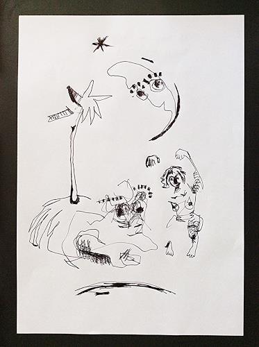 eugen lötscher, telefonzeichnung, das universum ist hier, auf diesem blatt papier, 18. november 2014, Fantasy, Miscellaneous Outer Space, Contemporary Art