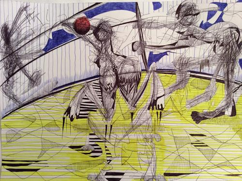 eugen lötscher, beach volley, 10. april 2015, Sports, Game, Contemporary Art, Abstract Expressionism