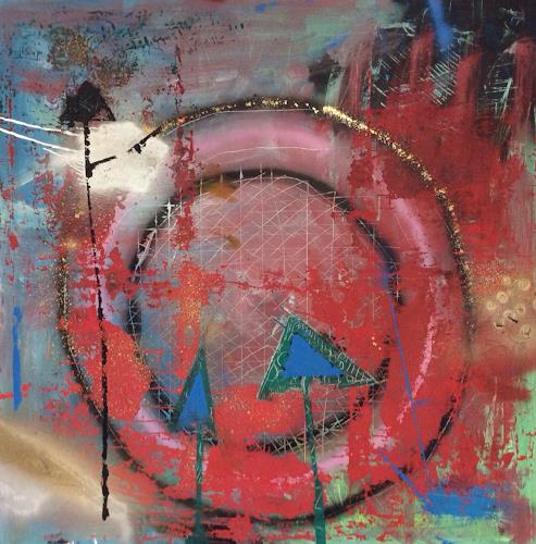 eugen lötscher, drei rottannen im anflug, Landscapes, People, Abstract Art, Abstract Expressionism