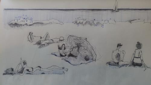 eugen lötscher, ligurien, Landscapes: Sea/Ocean, Miscellaneous People, Contemporary Art