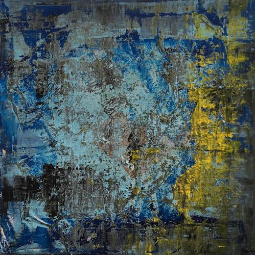 Remo Passeri, blue yellow 01, Abstract art, Abstract Art, Abstract Expressionism