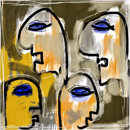 Remo Passeri, alle reden - niemand hört zu..., Society, People: Faces, Abstract Art
