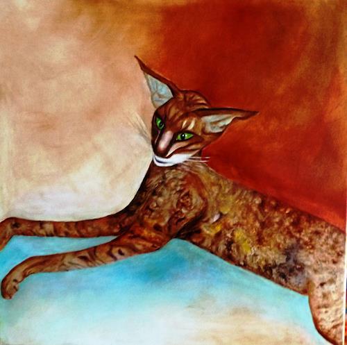 Hanna Rheinz, Dreifarbig schwebende Katze, Animals, Miscellaneous Emotions, Contemporary Art