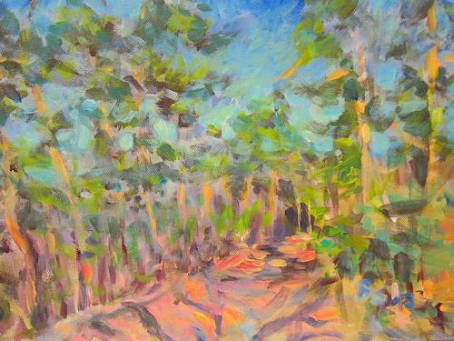 Barbara Schauß, Waldweg im Frühjahr, Landscapes, Nature: Wood, Impressionism