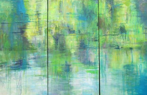 Barbara Schauß, Flusslandschaft, Nature: Water, Miscellaneous Landscapes, Post-Impressionism