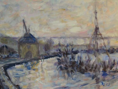 Barbara Schauß, Abendstimmung am Main, Miscellaneous Landscapes, Nature: Water, Post-Impressionism