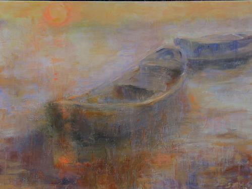 Barbara Schauß, Abendstimmung, Landscapes: Sea/Ocean, Nature, Impressionism, Expressionism