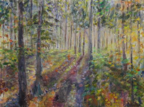 Barbara Schauß, Im Wald, Landscapes, Nature: Wood, Impressionism, Expressionism