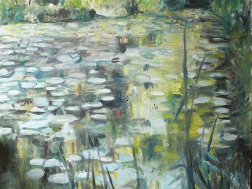 Barbara Schauß, Seerosenteich, Miscellaneous Landscapes, Nature: Water, Impressionism, Expressionism