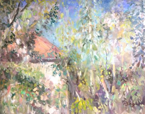 Barbara Schauß, Wiesenmühle im Sommer, Landscapes: Summer, Nature, Neo-Impressionism