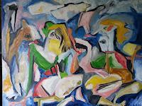 Doleta-Kaminskiene-Abstract-art-People-Group-Modern-Age-Expressionism-Abstract-Expressionism