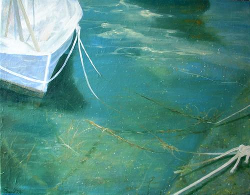 Claire Mesnil, The Boat, Leisure, Nature: Water, Contemporary Art, Expressionism