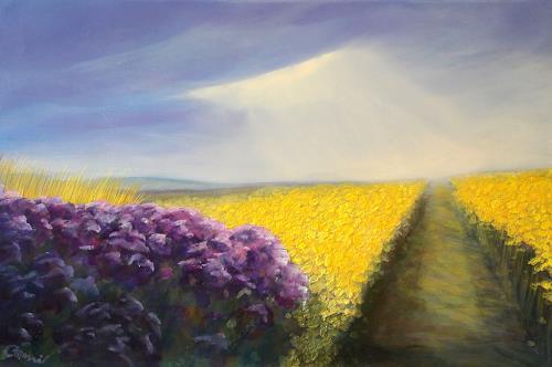 Claire Mesnil, Canola Fields, Miscellaneous Landscapes, Nature: Miscellaneous, Contemporary Art