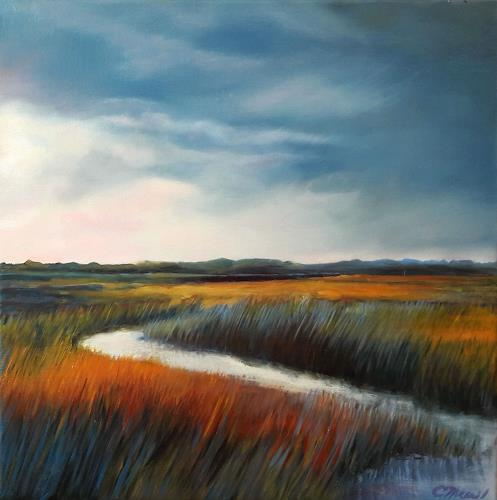 Claire Mesnil, Dawn Over Lawrence Field, Miscellaneous Landscapes, Nature: Miscellaneous, Contemporary Art, Expressionism