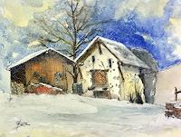 ALEX-BECK-Landscapes-Winter-Buildings-Houses-Modern-Times-Realism