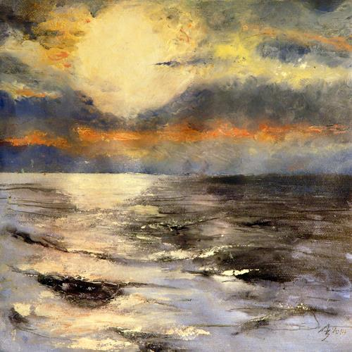ALEX BECK, Sonne über dem Meer, Landscapes: Sea/Ocean, Romantic motifs, Realism, Expressionism