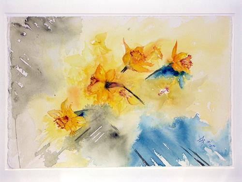 ALEX BECK, Osterglocken, Plants: Flowers, Decorative Art, Realism