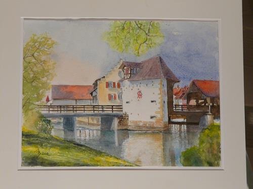 ALEX BECK, Reussbrücke, Bremgarten/AG, Landscapes: Summer