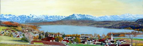 ALEX BECK, Hallwilersee mit Alpenpanorama, Landscapes: Autumn, Landscapes: Sea/Ocean, Realism, Expressionism