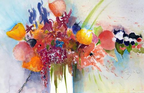 ALEX BECK, Blumenstrauss, Plants: Flowers, Decorative Art, Expressive Realism