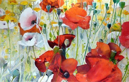 ALEX BECK, Mohnblumenwiese, Plants: Flowers, Romantic motifs, Realism