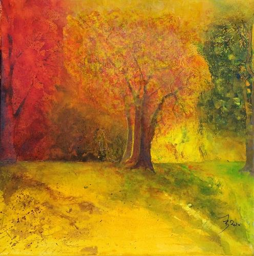 ALEX BECK, Autumn Touch,  Herbststimmung, Landscapes: Autumn, Emotions: Safety, Naturalism, Expressionism