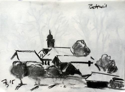 ALEX BECK, Impressionen am Lindenberg, Landscapes: Winter, Architecture, Realism