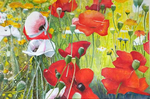 ALEX BECK, Poppy meadow, Plants: Flowers, Emotions: Joy, Realism, Expressionism