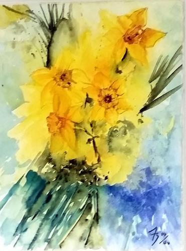 ALEX BECK, Osterglocken Gesteck, Plants: Flowers, Nature, Realism