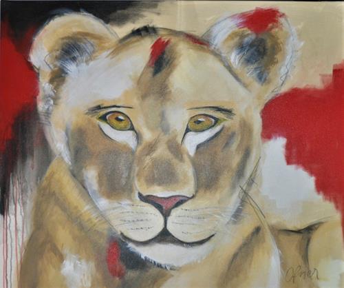 Barbara Ofner, Die Löwin, Animals: Land, Miscellaneous Animals, Contemporary Art