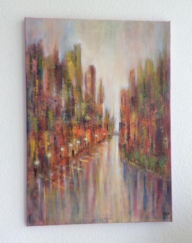 Oli (Olivia) Melly, Flanieren am Fluss, Abstract art, Modern Age