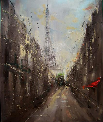 Monika Luniak, PARIS ..., Buildings, Interiors: Cities, Expressionism, Abstract Expressionism