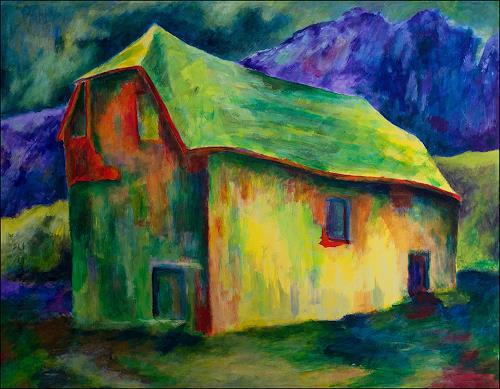 Udo Greiner, Das einsame Haus in den Bergen - Secrets 03/17, Landscapes, Mythology, Expressionism