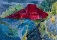 Udo-Greiner-Landscapes-Buildings-Houses-Modern-Age-Expressionism-Neo-Expressionism