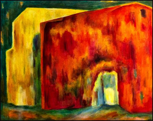 Udo Greiner, Rotes Haus 19, Buildings, Abstract art, Expressive Realism, Abstract Expressionism
