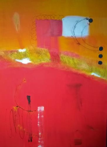 Karin Kraus, Schwarze Punkte - Rote Kringel, Abstract art, Fantasy, Concrete Art, Abstract Expressionism