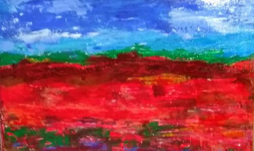 Karin Kraus, Mohnfeld, Landscapes, Abstract art, Abstract Expressionism