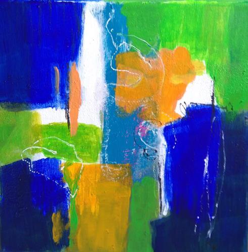 Karin Kraus, Blaues Leuchten, Abstract art, Fantasy, Colour Field Painting