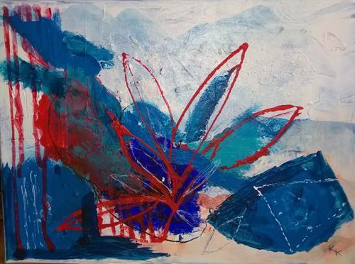 Karin Kraus, Variationen in Blau, Burlesque, Abstract art, Non-Objectivism [Informel], Expressionism