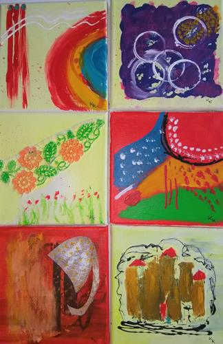 Karin Kraus, Bunte Kacheln, Abstract art, Abstract art, Abstract Art