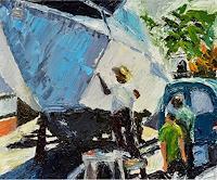 Norbert-von-Bertoldi-People-Group-Modern-Age-Impressionism-Neo-Impressionism