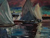 Norbert-von-Bertoldi-Landscapes-Sea-Ocean-Leisure-Modern-Age-Impressionism-Neo-Impressionism