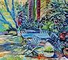Norbert von Bertoldi, Kleine Gartenansicht - nach Mike Keilbach, Plants: Trees, Landscapes: Spring, Expressive Realism