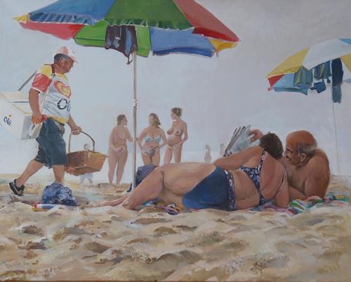 Joan Stephan, Eisverkäufer, Leisure, People: Group, Realism, Expressionism