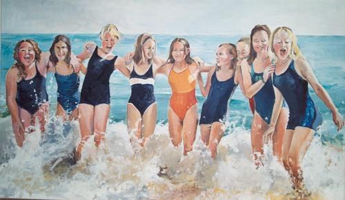 Joan Stephan, Freundinnen, Landscapes: Beaches, People, Realism, Expressionism